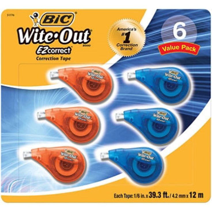 BIC Wite Out EZ Correction Tape White 6 Pk Easy to Use Dispenser Teacher New…