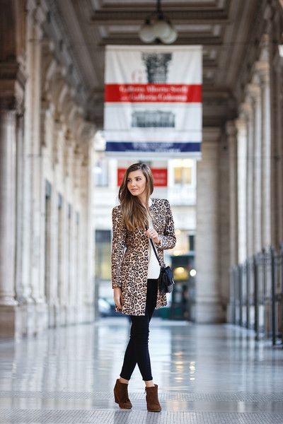 Leopard Print Coat Long Sleeve Classy Jacket