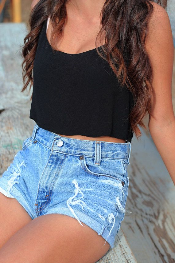 Distressed High Waisted Shorts by Denimfordays on Etsy. This outfit is just stunning!