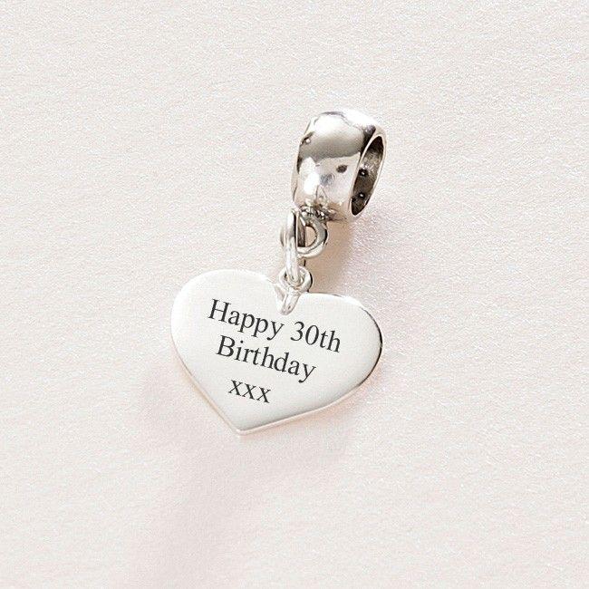 Pandora Birthday Charms | Happy 30th Birthday sterling silver heart charm fits Pandora (pan1 ...