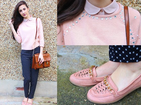 Get this look: http://lb.nu/look/5874635  More looks by Katie: http://lb.nu/katieloves  Items in this look:  Primark Loafers, Topshop Jumper, H&M Trousers, Urban Outfitters Satchel   #topshop #pink #pastel #pastels #fashion #fblogger #london #loafers #satchel