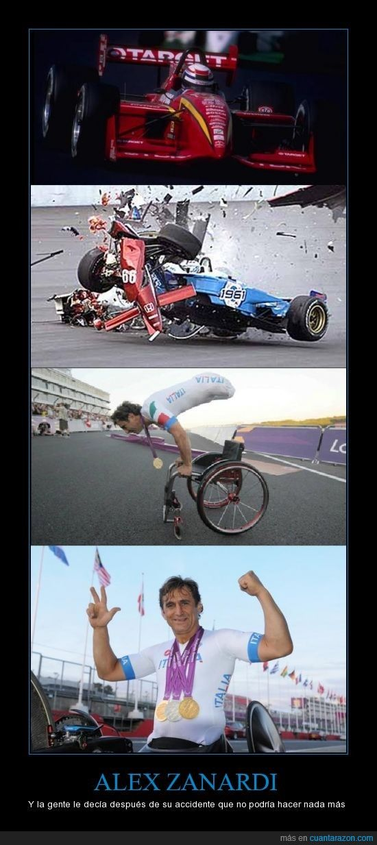 ALEX ZANARDI.  He emerged from that accident and went on to win a gold medal.  He's a courageous person in my book!  :)