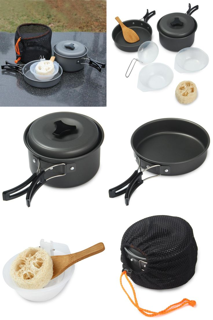 [Visit to Buy] High Quality 8pcs/set Non-stick Pots Pans Bowls Cookware Professional Aluminum Alloy Portable Outdoor Hiking Camping Cooking Set #Advertisement
