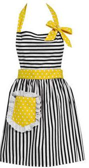 ApronPolka Dots, Sewing Projects, Aprons Ideas, Vintage Apron, Gift Ideas, Kitchens Aprons, Baby Girls, Yellow Aprons, Retro Aprons