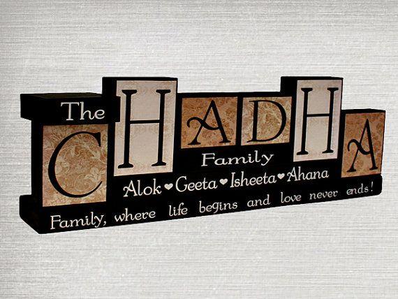 Family name blocks personalised wood blocks family for Living room 6 letters