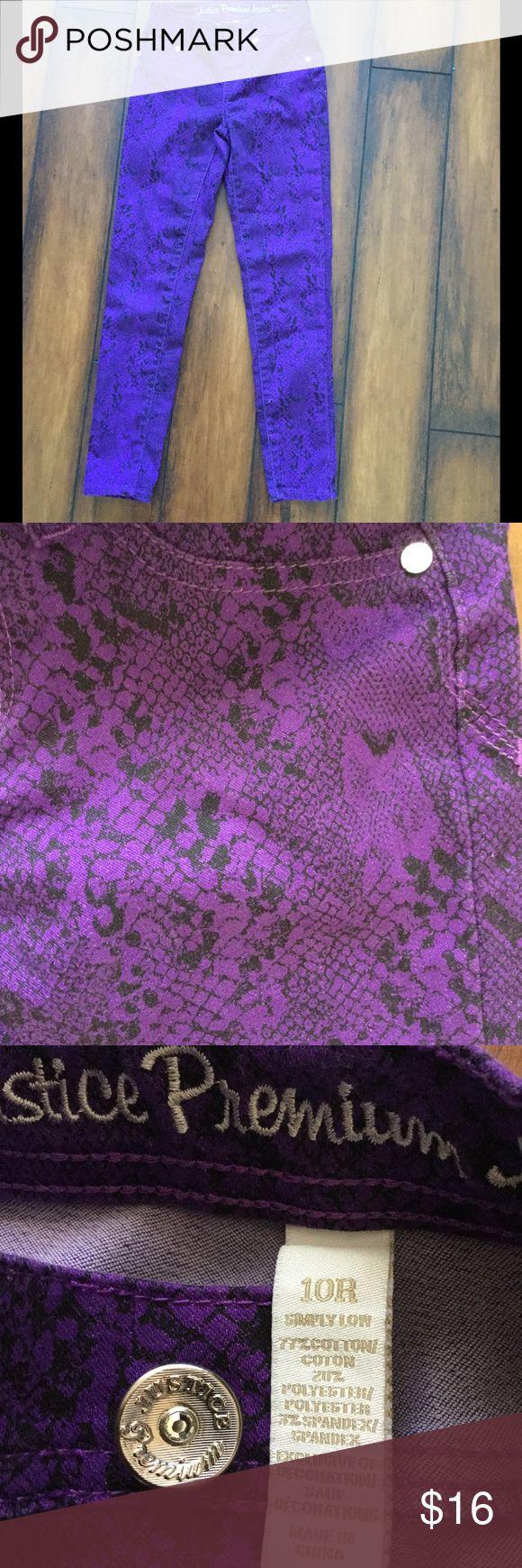Justice purple snake print pants Cute purple and black snake print pants. Size 10r by justice.  Preloved euc Justice Bottoms Jeans