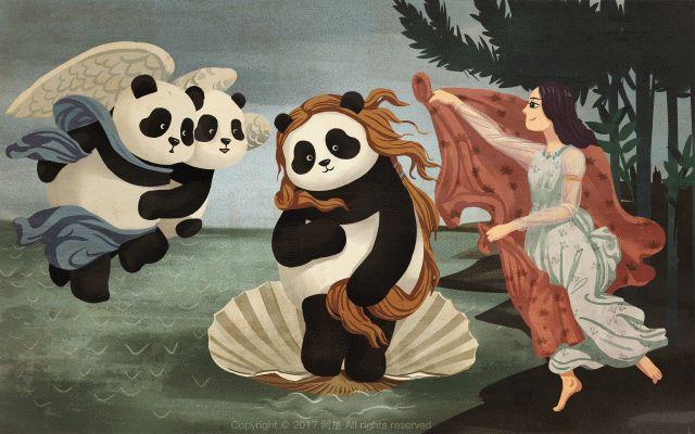 En Chine, l'artiste along72 rend hommage aux pandas. Sa méthode : détourner des peintures célèbres en y incrustant des pandas.