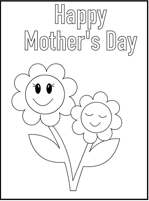 Mother's Day Sun Flowers coloring picture for kids