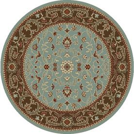 Concord Global Hampton Round Blue Floral Woven Area Rug (Common: 5-ft x 5-ft; Actual: 5.25-ft x 5.25-ft)