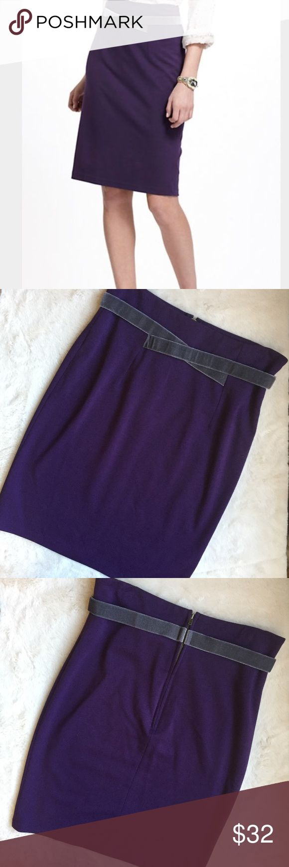 "Girls from Savoy Velvet Trim Purple Pencil Skirt Item: Girls from Savoy Purple Pencil Skirt with gray velvet trim & exposed back zipper Size: 4 Condition: Good pre-owned - barely worn - only visible wear is small mark by waist (see pics)  Measured lying flat: Waist: approx 14.75/15"" Length: approx 23"" Anthropologie Skirts Pencil"