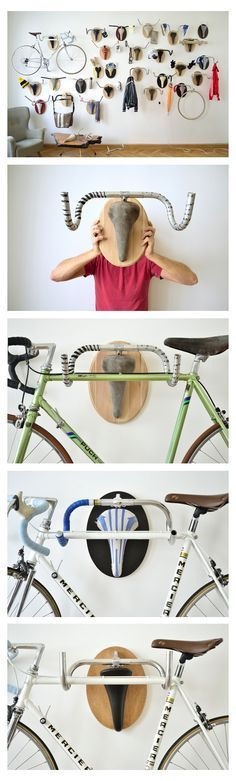 Upcycle old bike parts- almost like a skull rack- but a bike's bar and seat as a current bike rack. Looks great on its own or with a bike hanging from it.