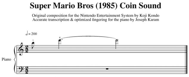 Sheet music for 10 Super Mario Bros sound effects...