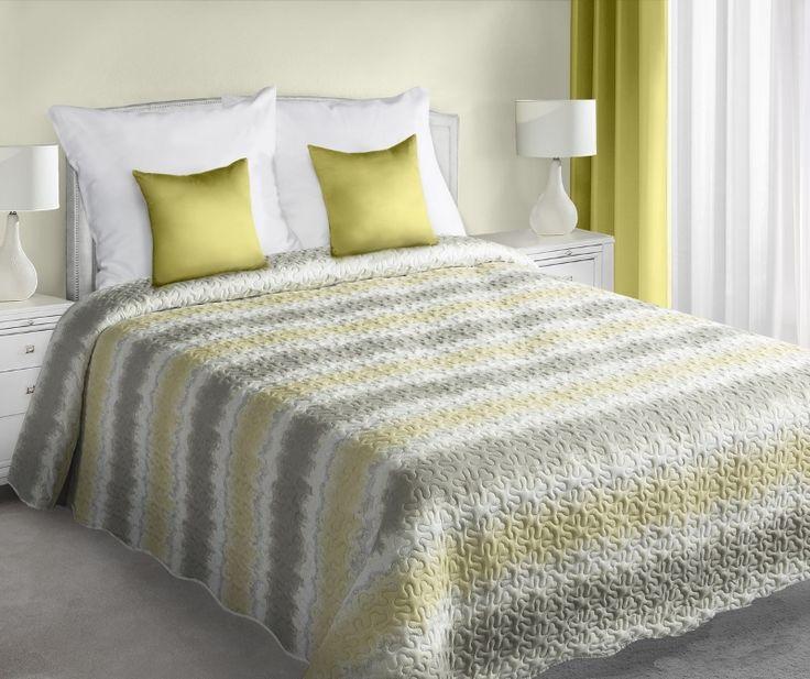 Żółto szare pasy narzuta dwustronna na łóżko w kolorze białym