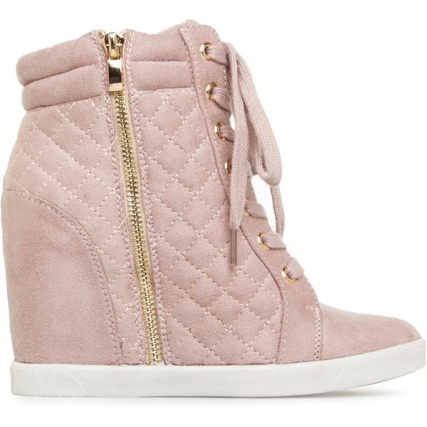 ShoeDazzle Wedge Skyler Womens Pink ❤ liked on Polyvore featuring shoes, sneakers, pink, wedges, wedge shoes, wedge trainers, pink wedge sneakers, wedged sneakers and wedge heel shoes