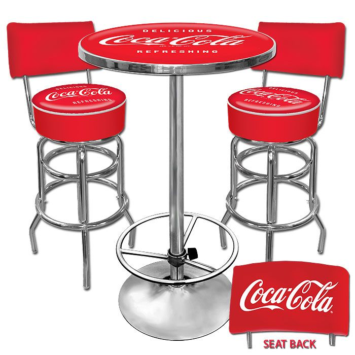 Coca Cola Table Chairs Pub Set Bar Stools Barstools With Backs Kitchen Rec
