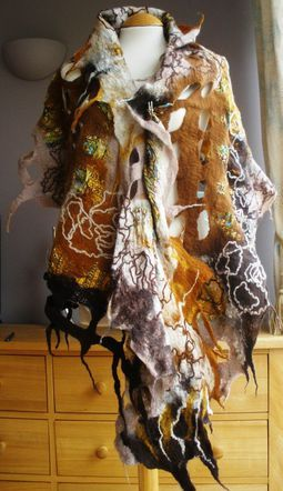 Nuno and lattice felted lagenlook shawl wrap scarf - Made To Order - your colours - Golds & browns - Purple - Green - Blue - Red