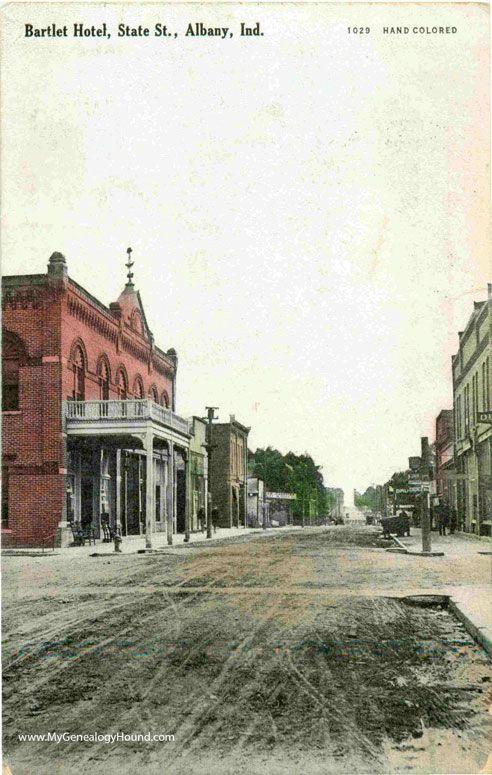 Albany, Indiana, Bartlet Hotel on State Street, vintage postcard photo