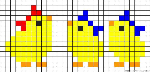 Easter chicks perler bead pattern