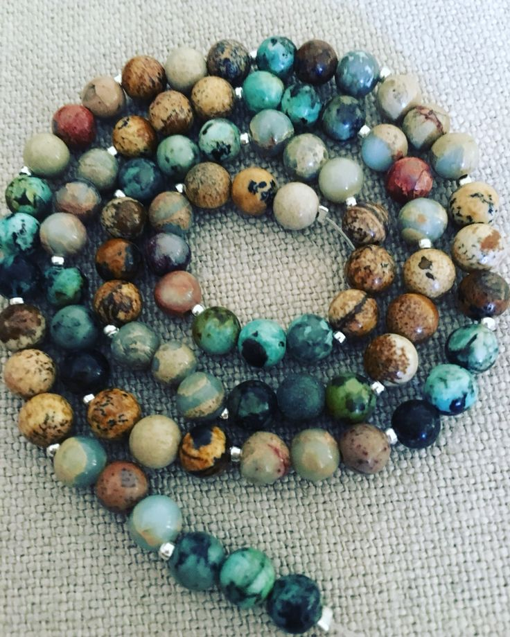 African Turquoise, Picture Jasper and Impression Jasper, all 6mm beads