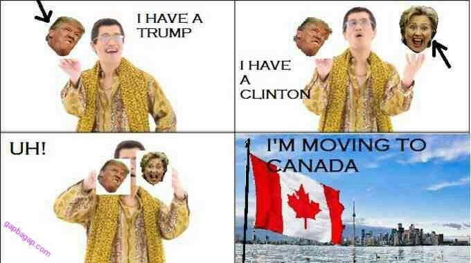 Funny Memes By PPAP About Donald Trump vs. Hillary Clinton ft. Canada
