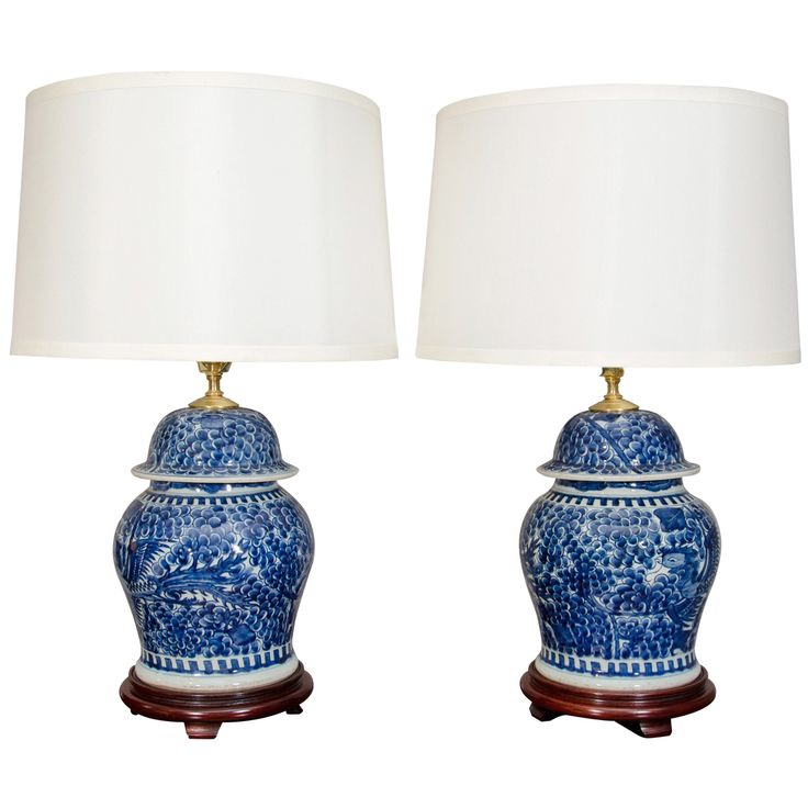 1st dibs pair of blue and white porcelain chinese temple jar lamps - First Dibs Home Decor