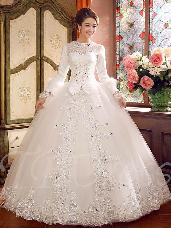 Long Sleeve Rhinestone Lace Up Ball Gown Arabic Wedding Dress My