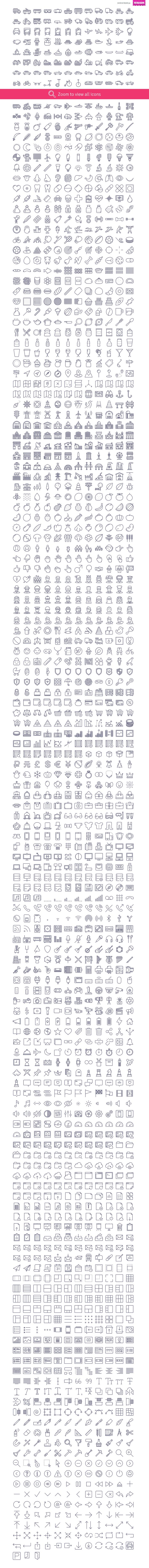 Unigrid contains 1791 outline vector icons divided into following categories: Baby, Basic, Biology, Buildings, Clothing & Accessories, Design, Devices, Finance, Food, Fruits & vegetables,