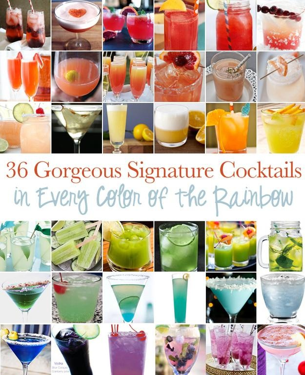 This is one stop shopping for signature cocktails for your perfect day! Gorgeous Signature Cocktails In Every Color Of The Rainbow