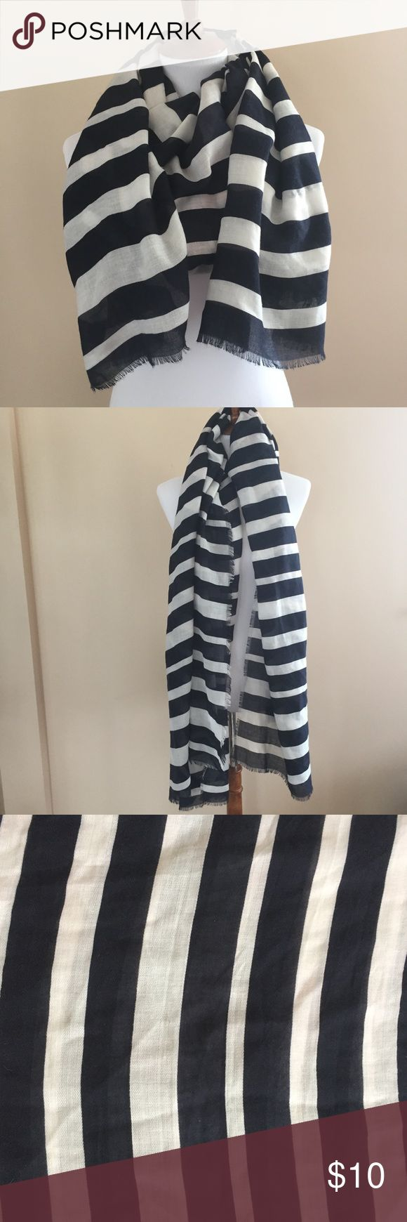 Old Navy Frayed Hem Oversized Striped Scarf Navy and white oversized scarf. Frayed hem around entire scarf. Cute addition to a summer wardrobe! 100% polyester. Old Navy Accessories Scarves & Wraps