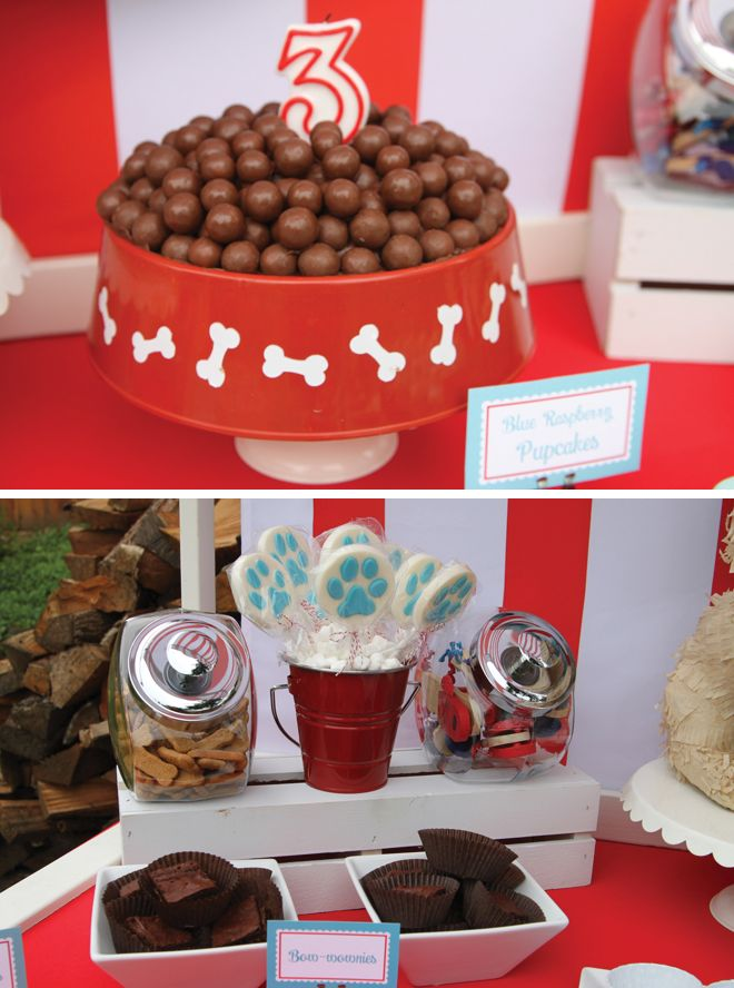 """Best in Show Puppy Party Photos + Inspiration! Serve Bow-wonies, """"water"""" jello bowls, puppy chow etc. cute for little ones that love their pups!"""