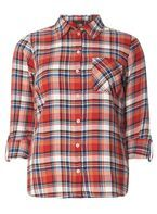Womens Red, Blue and Orange Checked Shirt- Multi Colour