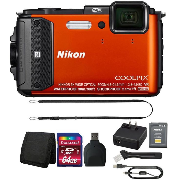 Nikon COOLPIX AW130 16MP Waterproof Digital Camera with Top Accessory Kit (Orange). Depth Rating: 100', Shock-Proof: 7' Freeze-Proof: 14°F. Built-In Wi-Fi, NFC, GPS. Hybrid Vibration Reduction. Remote Control via Smartphone or Tablet. Electronic Compass, Points of Interest.