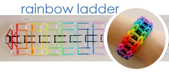 9 Band Bracelets for Kids to Make (Can also make rainbow ladder a solid color by replacing rainbow colors.)