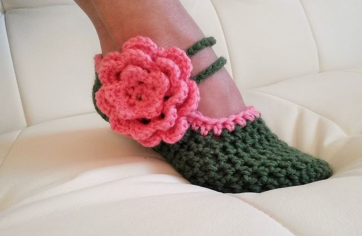 """""""Glama's Fancy Mary Jane Slippers"""". Free crochet pattern. I have made these and they are super cute and easy to size adjust. This pattern is made for size 5 1/2 to 8 (yes, they fit both, I have tried). The woman making the video is making up the pattern as she goes along, but she does add text to clarify."""