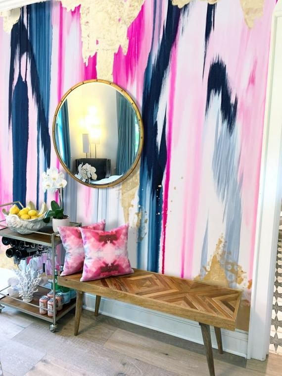 Plumeria Wall Mural Large Scale Pink And Navy Wallpaper Pink Etsy Wall Murals Removable Wall Murals Decor