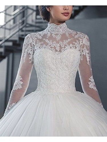 Classy High Neck Lace Tulle Long Sleeves Ball Gown Sweep Train Wedding Dress Itemwd0325