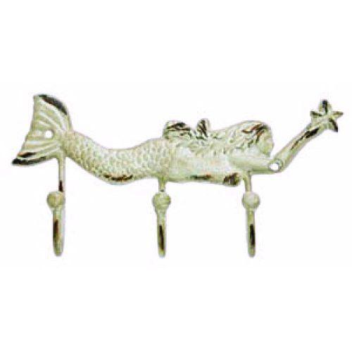 Vintage Mermaid Key Hook Rack Antique White - 10-in