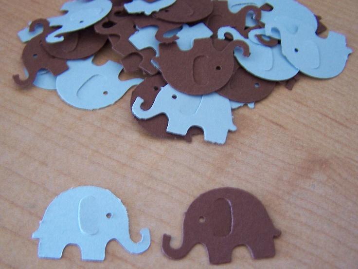 100 Blue Brown Elephant Diecuts Confetti Baby Shower Embellishment Scrapbook. $2.25, via Etsy.