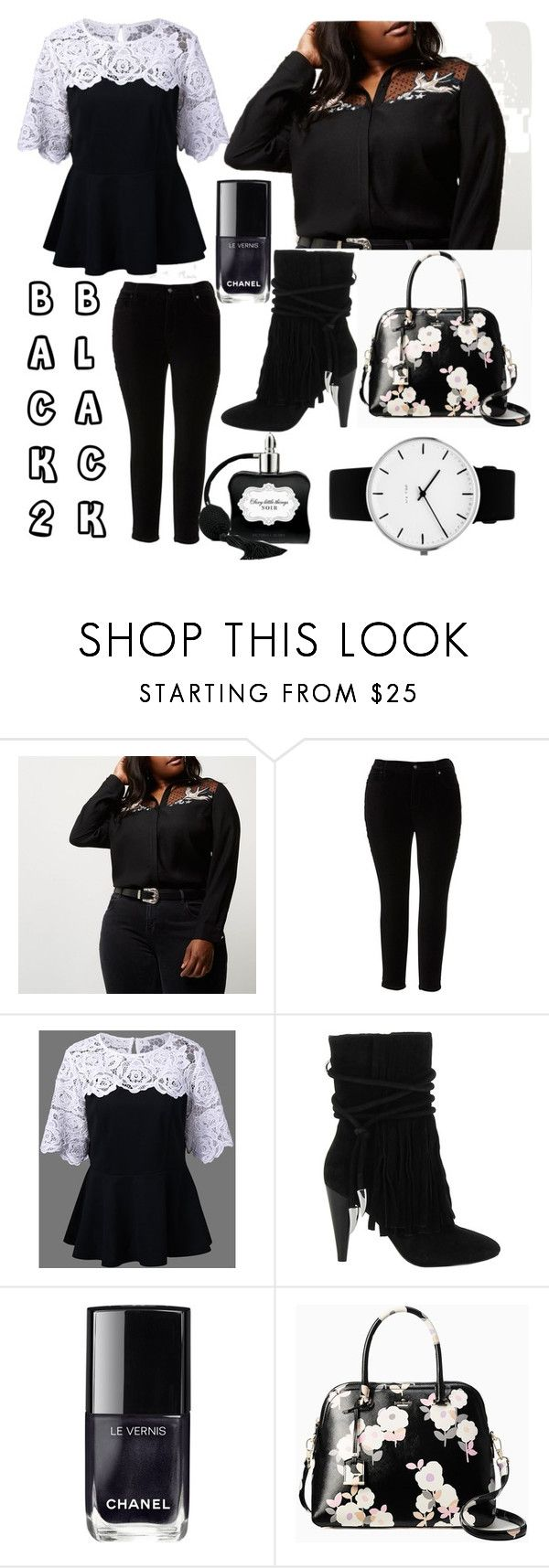 """""""back 2 black bbw"""" by plus-size-royalty ❤ liked on Polyvore featuring River Island, Melissa McCarthy Seven7, Ash, Chanel, Kate Spade, Rosendahl and plus size clothing"""
