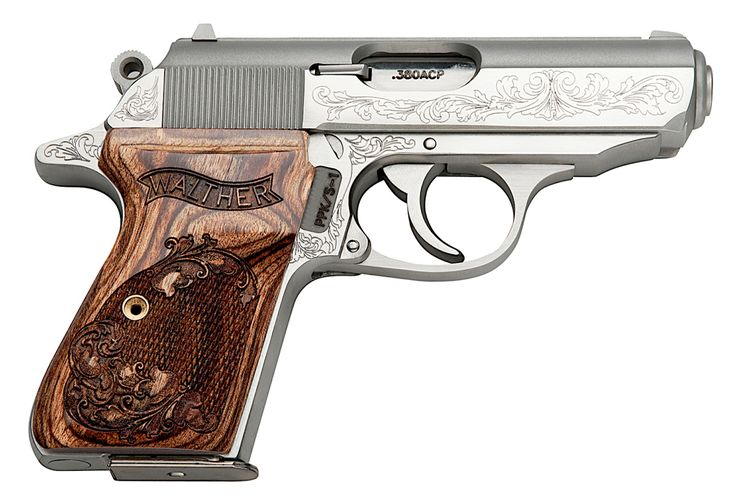 "This fabulous little Walther PPK/S features factory engraving throughout its stainless steel slide, frame, and grips. It is chambered for .380 ACP. The Walther became known to millions on the silver screen in the James Bond ""007"" movies, but you don't have to be a secret agent to enjoy this pistol for gun collecting or concealed carry."