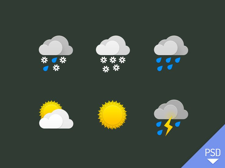 Weather icons PSD by Nick Zhukov