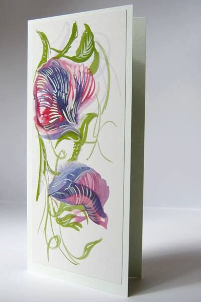 Flower orginal watercolour card / Blank birthday  card Sweet Pea by IngaDesignShop