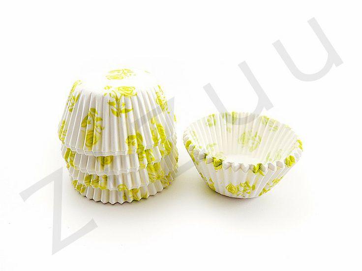 150 pirottini tondi a fiori verde chiaro con base 30mm #pirottini #ZiZuu