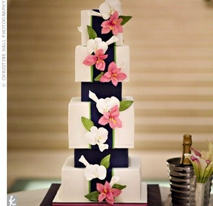 Navy & Pink wedding cake so close to my colors... mine are guava and marine.
