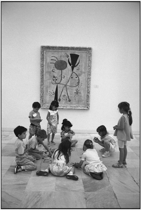Martine Franck Queen Sophia Museum. School children in the MIRO room.