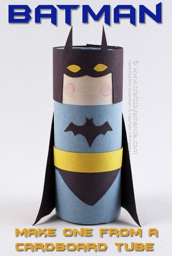 Superhero activities: Batman TP tube craft.  FREE pattern with tutorial.  Cute!