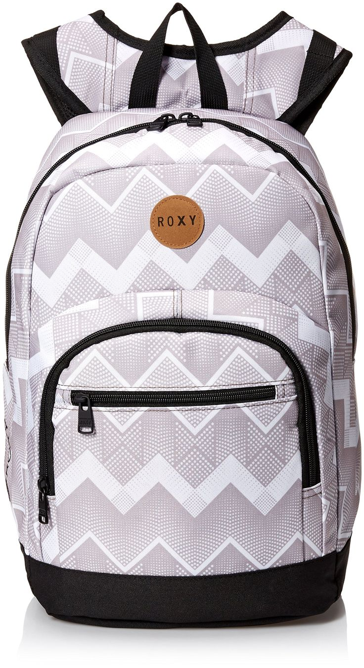 Roxy Women's Grand Love Poly Backpack, Optic/Grey. Large main compartment. Padded laptop sleeve. Front thermal-insulated collar. Organizer pockets. Side water bottle pockets.