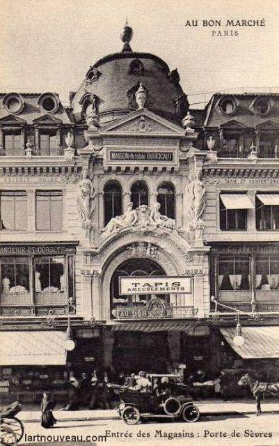 Le Bon Marché est un grand magasin français, situé au 24 rue de Sèvres dans le 7e arrondissement de Paris, à l'angle de la rue de Babylone et de la rue du Bac. Le Bon Marché a été construit en 1869. Il a été l'objet de multiples agrandissements par Boileau et Eiffel. (Sylas A.)
