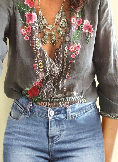 1b3c9140391bec Floral Casual Polyester V-Neckline 3 4 Sleeves Blouses - Floryday