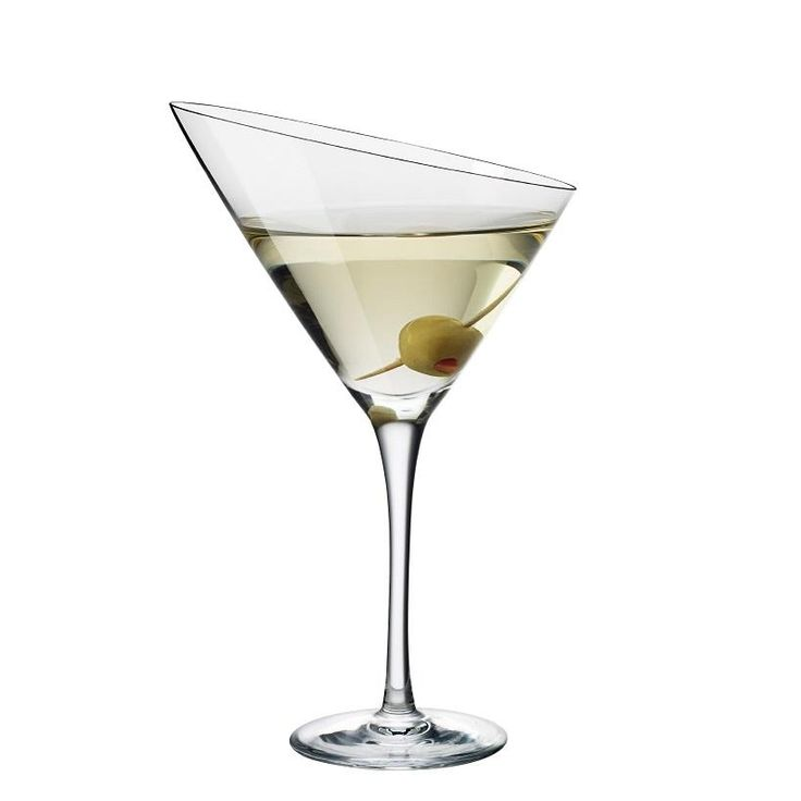 A mouth blown martini glass with a fine diagonal rim.